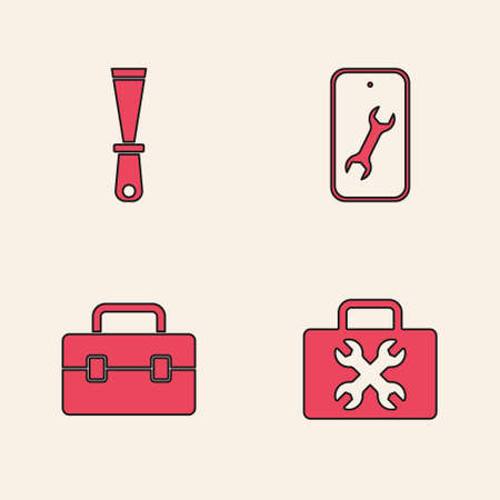 Set Toolbox, Putty knife, Mobile service and icon. Vector