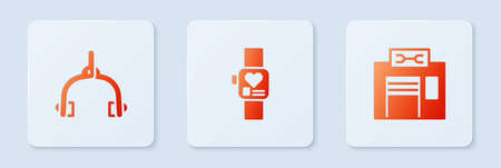 Set Smart watch, Bicycle brake calipers and repair service. White square button. Vector