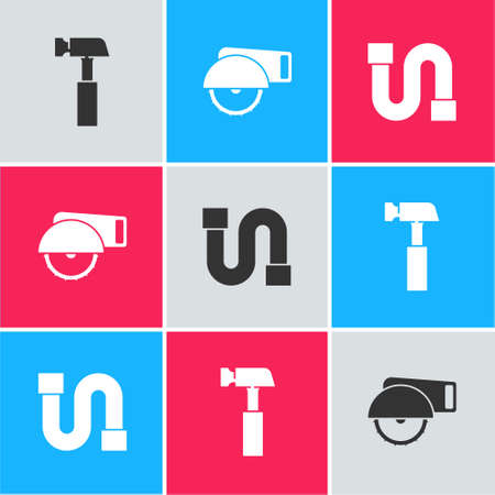 Set Hammer, Electric circular saw and Industry pipe icon. Vector Ilustração