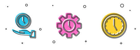Set Clock, Time Management and icon. Vector