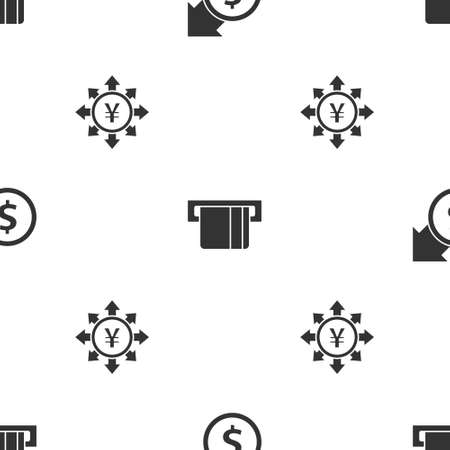 Set Financial growth and dollar, Credit card inserted and Coin money with Yen on seamless pattern. Vector