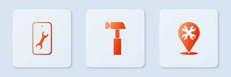 Set Hammer, Mobile service and Location with wrench. White square button. Vector