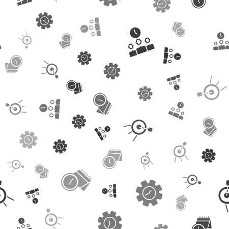 Set Time Management, , Target sport and Calendar and clock on seamless pattern. Vector