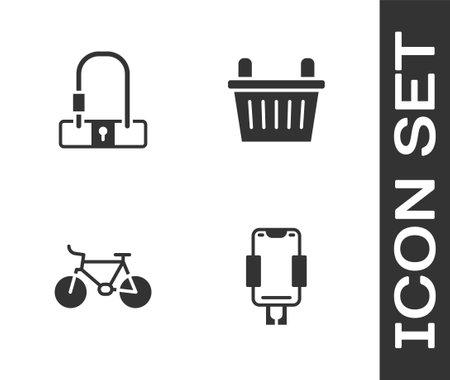 Set Mobile holder, Bicycle lock, and basket icon. Vector Ilustração