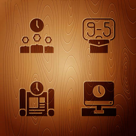Set Monitor time, Time Management, Project plan and From 9 on wooden background. Vector