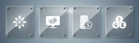Set Currency exchange, Coin money with dollar, Stacks paper cash and Yen. Square glass panels. Vector