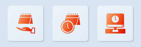 Set Calendar and clock, and Monitor time. White square button. Vector