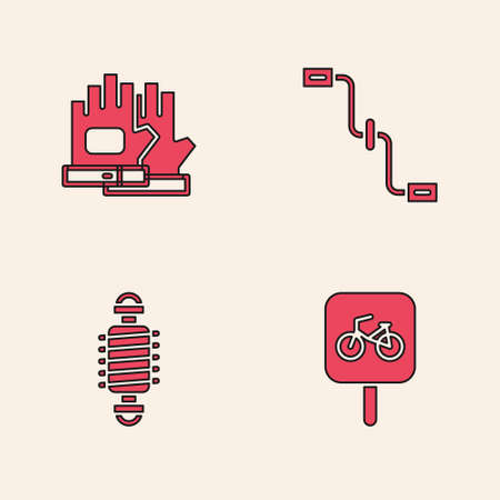 Set Bicycle parking, Gloves, pedals and suspension icon. Vector