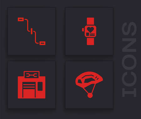 Set Bicycle helmet, pedals, Smart watch and repair service icon. Vector