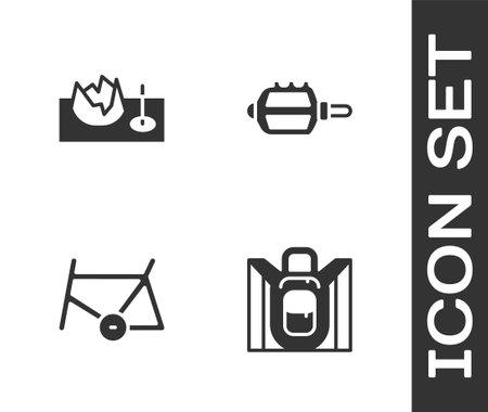 Set Hiking backpack, Bicycle on street ramp, frame and pedal icon. Vector Ilustração