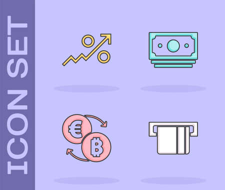 Set Credit card inserted, Percent up arrow, Cryptocurrency exchange and Stacks paper money cash icon. Vector