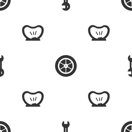 Set Wrench spanner, Bicycle wheel and punctured tire on seamless pattern. Vector