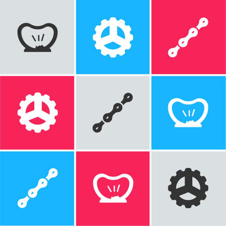 Set Bicycle punctured tire, sprocket crank and chain icon. Vector