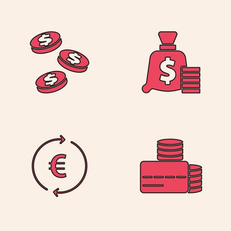Set Credit card, Coin money with dollar, Money bag and euro symbol icon. Vector Ilustração