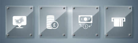 Set Credit card inserted, Stacks paper money cash, Coin with pound and . Square glass panels. Vector Ilustração