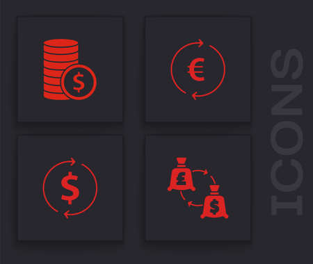 Set Currency exchange, Coin money with dollar, euro symbol and Financial growth and icon. Vector