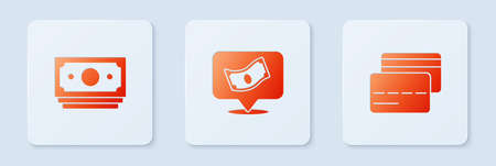 Set Stacks paper money cash, and Credit card. White square button. Vector