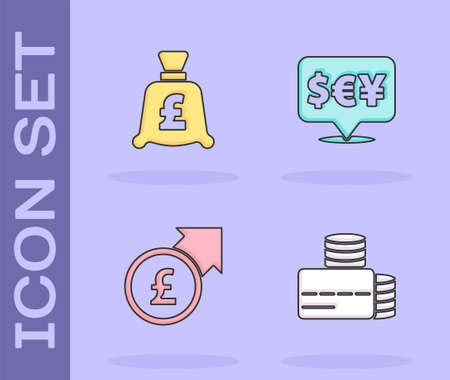Set Credit card, Coin money with pound, Financial growth and and Currency exchange icon. Vector Ilustração