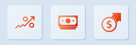 Set Stacks paper money cash, Percent up arrow and Financial growth and dollar. White square button. Vector