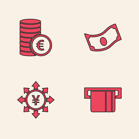 Set Credit card inserted, Coin money with euro symbol, Stacks paper cash and Yen icon. Vector