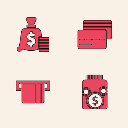 Set Glass money jar with coin, Money bag, Credit card and inserted icon. Vector