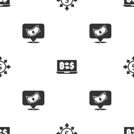 Set Dollar, share, network, Cryptocurrency exchange and Stacks paper money cash on seamless pattern. Vector