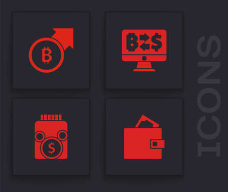 Set Wallet with money, Financial growth and bitcoin, Cryptocurrency exchange and Glass jar icon. Vector Ilustração