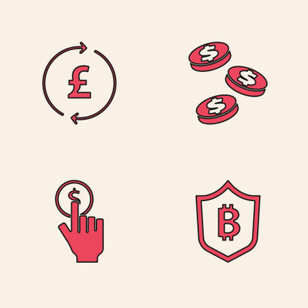 Set Shield with bitcoin, Coin money pound, dollar and Hand holding icon. Vector