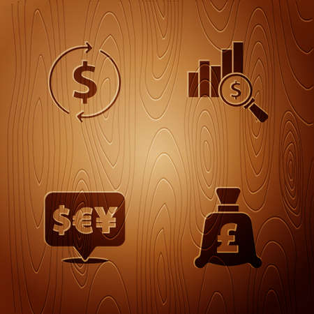 Set Coin money with pound, Financial growth and dollar, Currency exchange and Pie chart on wooden background. Vector Ilustração