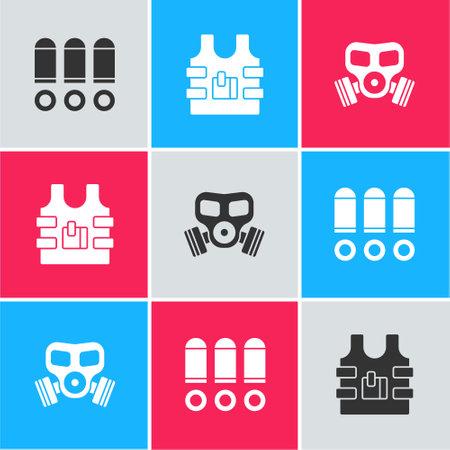 Set Bullet, Bulletproof vest and Gas mask icon. Vector