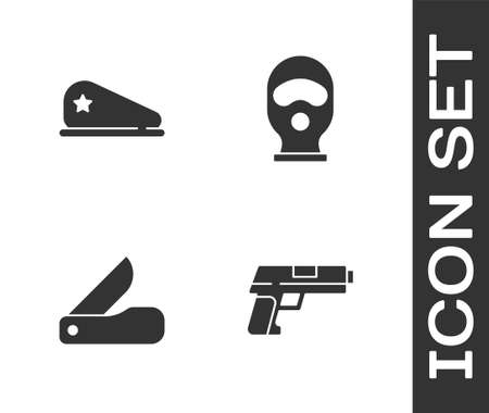 Set Pistol or gun, Military beret, Swiss army knife and Balaclava icon. Vector