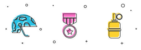 Set Military helmet, reward medal and Hand grenade icon. Vector