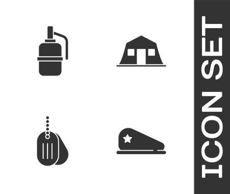 Set Military beret, Hand grenade, dog tag and barracks icon. Vector