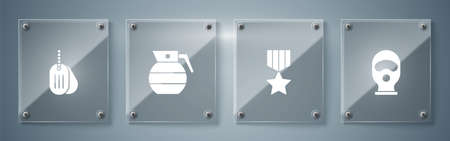 Set Balaclava, Military reward medal, Hand grenade and dog tag. Square glass panels. Vector