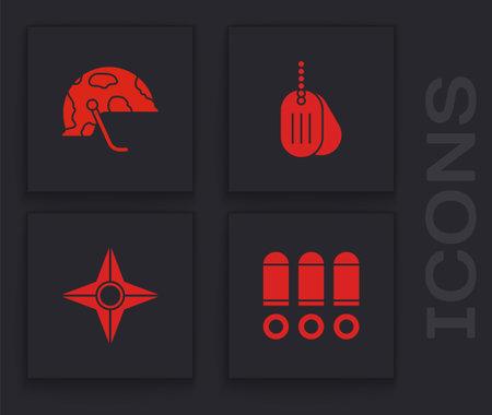 Set Bullet, Military helmet, dog tag and Japanese ninja shuriken icon. Vector