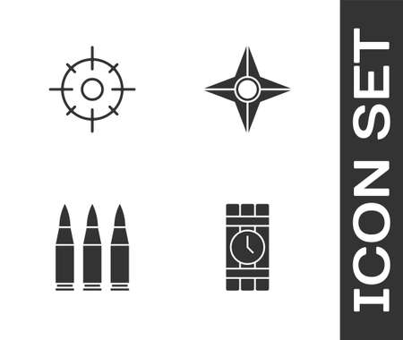 Set Dynamite and timer clock, Target sport, Bullet and Japanese ninja shuriken icon. Vector