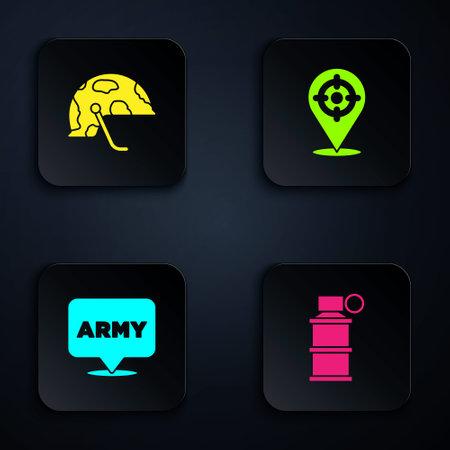 Set Hand smoke grenade, Military helmet, army and Target sport. Black square button. Vector Ilustração