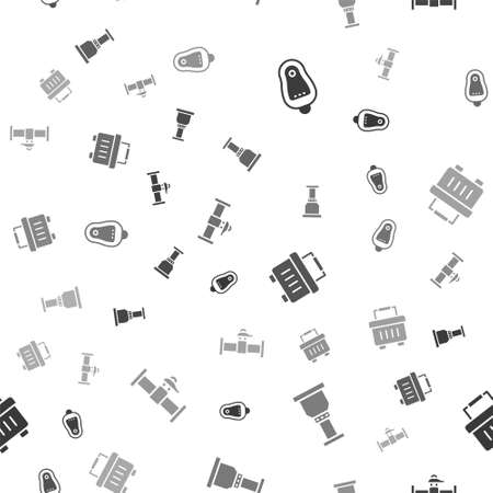 Set Toilet urinal or pissoir, Pipe adapter, Toolbox and Industry pipe and valve on seamless pattern. Vector Иллюстрация