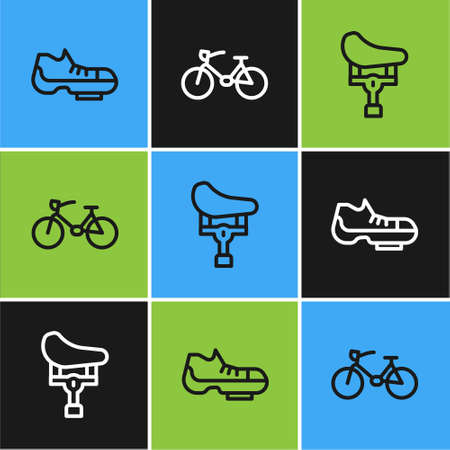 Set line Bicycle shoes, seat and icon. Vector