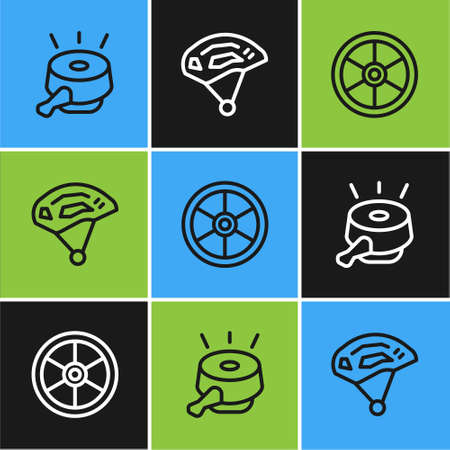 Set line Bicycle bell, wheel and helmet icon. Vector