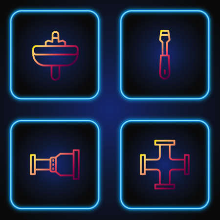 Set line Industry metallic pipe, Pipe adapter, Washbasin and Screwdriver. Gradient color icons. Vector