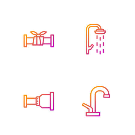 Set line Water tap, Pipe adapter, Industry metallic pipe and Shower. Gradient color icons. Vector