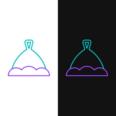 Line Sauna hat icon isolated on white and black background. Colorful outline concept. Vector