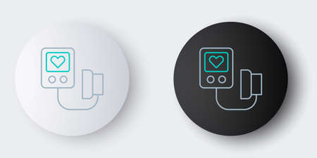 Line Blood pressure icon isolated on grey background. Colorful outline concept. Vector Ilustrace
