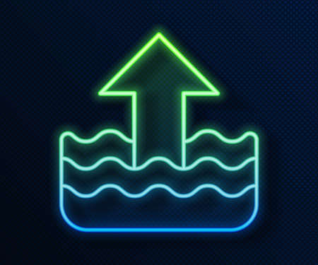 Glowing neon line Rise in water level icon isolated on blue background. Vector