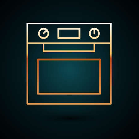 Gold line Oven icon isolated on dark blue background. Stove gas oven sign. Vector