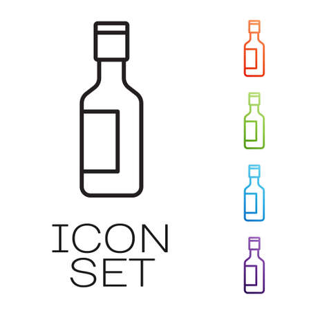 Black line Jewish wine bottle icon isolated on white background. Set icons colorful. Vector