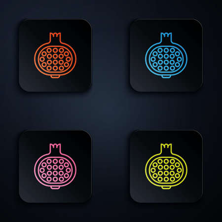 Color neon line Pomegranate icon isolated on black background. Garnet fruit. Set icons in square buttons. Vector