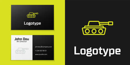 Logotype line Military tank icon isolated on black background. Logo design template element. Vector