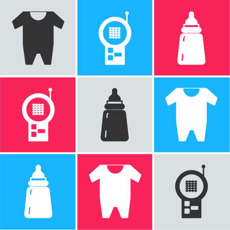 Set Baby clothes, Baby Monitor Walkie Talkie and Baby bottle icon. Vector